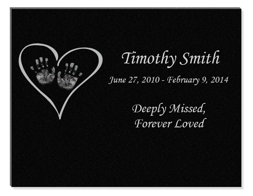 Heart With Hands Engraved Infant Granite Memorial Plaque