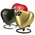 Heart with Paw Print Keepsake Cremation Urns