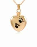 Heart with Paw Prints Gold Vermeil Pet Cremation Jewelry Necklace
