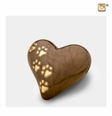 Heart with Paw Prints Pearlescent Bronze Pet Keepsake Cremation Urn