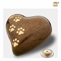 Heart with Paw Prints Pearlescent Bronze Pet Large Cremation Urn