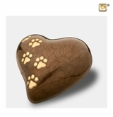 Heart with Paw Prints Pearlescent Bronze Pet Medium Cremation Urn