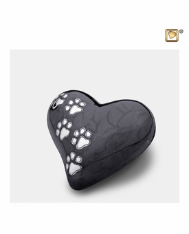 Heart with Paw Prints Pearlescent Midnight Pet Keepsake Cremation Urn