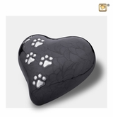 Heart with Paw Prints Pearlescent Midnight Pet Medium Cremation Urn