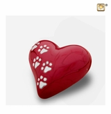Heart with Paw Prints Pearlescent Red Pet Keepsake Cremation Urn