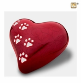 Heart with Paw Prints Pearlescent Red Pet Large Cremation Urn