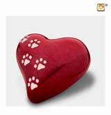 Heart with Paw Prints Pearlescent Red Pet Medium Cremation Urn