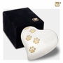 Heart with Paw Prints Pearlescent White Pet Keepsake Cremation Urn