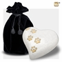 Heart with Paw Prints Pearlescent White Pet Large Cremation Urn