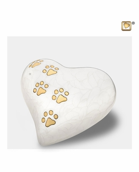 Heart with Paw Prints Pearlescent White Pet Medium Cremation Urn