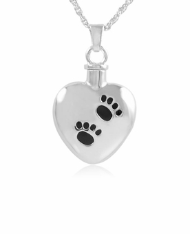 Heart with Paw Prints Sterling Pet Cremation Jewelry Pendant Necklace
