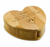 Heart with Pivoting Compartments Maple Wood Pet Keepsake Box