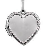 Heart with Rope Border 14k White Gold Memorial Locket Jewelry Necklace