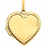 Heart with Rope Border 14k Yellow Gold Memorial Locket Jewelry Necklace