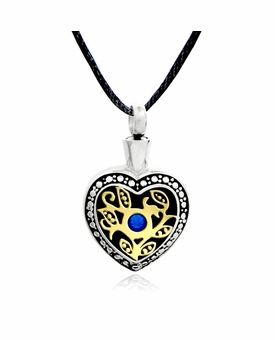 Heart with Vines and Crystal Stainless Steel Cremation Jewelry Pendant Necklace