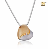 Heartfelt with Crystal Two Tone Gold Vermeil Cremation Jewelry Pendant Necklace