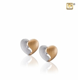 Heartfelt with Crystal Two Tone Gold Vermeil Memorial Jewelry Stud Earrings