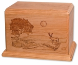 Heartland Deer Cherry Wood Newport Laser Carved Cremation Urn