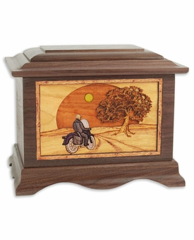 Heartland Motorcycle Rider with 3D Inlay Walnut Wood Cremation Urn
