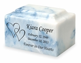 Hearts Classic Cultured Marble Cremation Urn Vault - Engravable - 34 Color Choices