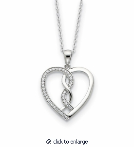 hearts joined together sterling cz memorial jewelry pendant