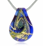 Heavenly Blue Cremains Encased in Glass Cremation Jewelry Pendant