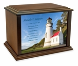 Heceta Head Lighthouse Eternal Reflections Wood Cremation Urn - 4 Sizes