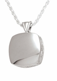 High Polish Cushion Sterling Silver Cremation Jewelry Pendant Necklace