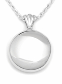 High Polish Round Sterling Silver Cremation Jewelry Pendant Necklace