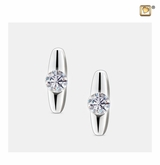 Hope with Crystal Rhodium Plated Sterling Silver Memorial Jewelry Stud Earrings