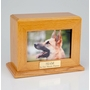 Horizontal Large Inset Photo Pet Oak Wood Cremation Urn