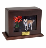Horizontal Large Inset Photo Pet Walnut Wood Cremation Urn