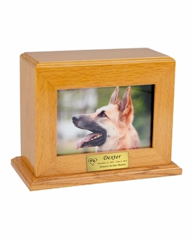 Horizontal Medium - Inset Photo Pet Oak Wood Cremation Urn