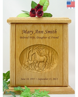 Horse & Colt Relief Carved Engraved Wood Cremation Urn