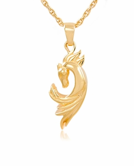 Horse Gold Vermeil Cremation Jewelry Pendant Necklace