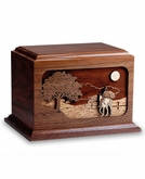 Horse Ride Home Dimensional Wood Cremation Urn - Engravable
