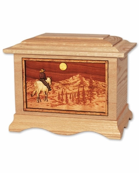 Horse Rider and Mountains with 3D Inlay Oak Wood Cremation Urn