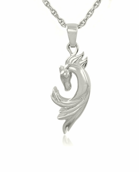 Horse Sterling Silver Cremation Jewelry Pendant Necklace