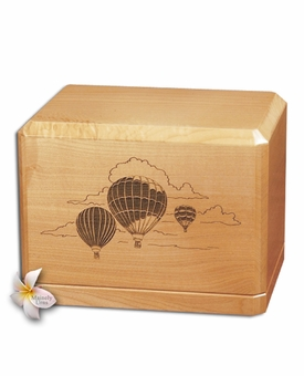 Hot Air Balloons Classic Maple Wood Cremation Urn