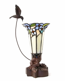 Hummingbird and Lily Blue Tiffany Style Lamp Keepsake Cremation Urn