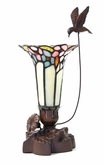 Hummingbird and Lily Pink Tiffany Style Lamp Keepsake Cremation Urn