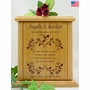 Hummingbird and Vines With Poem Engraved Wood Cremation Urn
