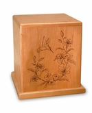 Hummingbird Cherry Cremation Urn - Engravable