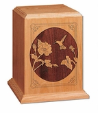 Hummingbird Cherry Wood Cremation Urn
