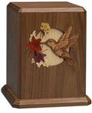 Hummingbird Dimensional Heirloom Walnut Wood Cremation Urn
