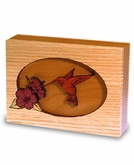 Hummingbird Dimensional Wood Keepsake Cremation Urn - Engravable