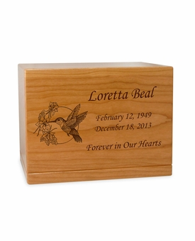 Hummingbird Manchester Solid Cherry Wood Cremation Urn