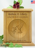 Hummingbird Relief Carved Engraved Wood Cremation Urn