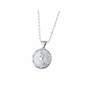 Hummingbird Round Sterling Silver Cremation Jewelry Pendant Necklace