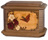 Hummingbird with Flowers 3D Inlay Walnut Wood Octagon Cremation Urn